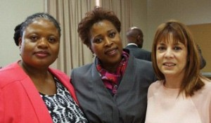 Three of the six female members of the National Forum, from left, Martha Mbhele, Thina Siwendu and Janine Myburgh at the first meeting of the forum on 31 March.