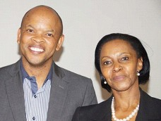 The deputy chairperson and chairperson of the National Forum, Max Boqwana and Kgomotso Moroka, shortly after election on 31 March.