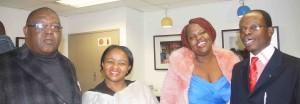 From left, The Nation Magazine Editor, Bheki Makhubu, and his wife, Fikile Makhubu, with Tanele Maseko, and her human rights lawyer husband, Thulani Maseko, at a welcome reception for Mr Makhubu andMr Maseko in Pretoria.
