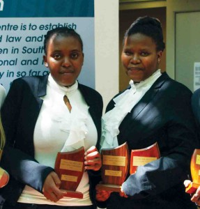From left: Tebogo Nsibande and Sally-Anne Hungwe, both third year LLB students from University of the Witwatersrand, won Best Heads of Argument. Ms Nsibande also won Best Speaker.