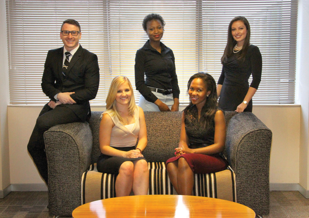 Front, from left: Erin Carlson and Kanabo Skhosana. Back, from left: Jean-Ray Pearson, Rebokilwe Seepane and Celeste Slatter.