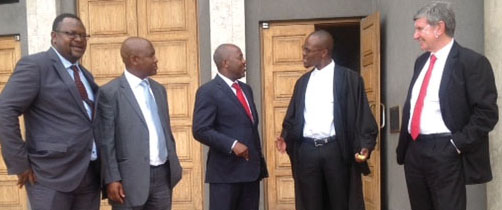 From left: Africa Director at the International Commission of Jurists, Arnold Tsunga; past President of the Law Society of the Free State, Vuyo Morobane; Law Society of South Africa Co-chairperson Busani Mabunda; Lesotho attorney, Tumisang Masotho and Law Society of South Africa Co-chairperson Richard Scott, outside the Maseru High Court in December.