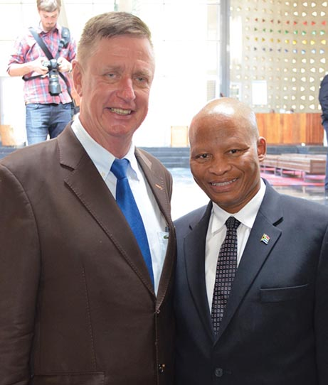 Chief Justice, Mogoeng Mogoeng and Justice Johann van der Westhuizen, at the special ceremonial session of the Constitutional Court held on 29 January.