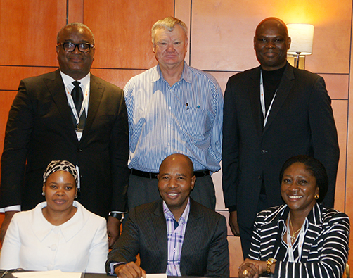 Back: Nigerian Bar Association (NBA) President, Augustine Alegeth SAN, LSSA Co-chairperson, Jan van Rensburg and Olawale Fapohunda from the NBA. Seated: LSSA Manco member, Mimie Memka, LSSA Co-chairperson, Mvuso Notyesi, and Ifueko Alufohai, Executive Director of the NBA, at a meeting between the NBA and LSSA in June.