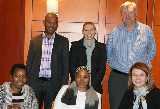 Law Society of South Africa Co-chairpersons Mvuso Notyesi (back left) and Jan van Rensburg, with Dr Jeanne-Mari Retief (centre), and front, Reshoketsoe Malefo, LSSA Manco member, Mimie Memka and Beverley Clarke at a meeting in June to discuss taking forward objectives identified to empower women lawyers in practice.