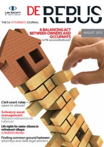 August 2013 De Rebus_Cover
