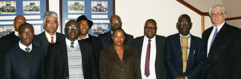 Back row from left: Senior Manager: Legal Education and Development, Ogilvie Ramoshaba; Chairperson of the Standing Committee Legal Education, Raj Badal; Co-chairperson of the Law Society of South Africa, Mvuso Notyesi; Chairperson of the Board of Control of the Pretoria School for Practical Legal Training, Kabelo Seabi; member of the Committee on Legal Education and Standards of the Council for Legal Education Zimbabwe, James Prince Mutizwa; member of the Committee on Legal Education and Standards of the Council for Legal Education Zimbabwe and the Deputy Chairperson of the Law Development Commission, Joel Zowa; and Chief Executive Officer of the Law Society of South Africa and Director: Legal Education and Development, Nic Swart. Front row from left: Member of the Committee on Legal Education and Standards of the Council for Legal Education Zimbabwe, Lloyd Mhishi; Chairperson of the Committee on Legal Education and Standards of the Council for Legal Education Zimbabwe and Judge of the High Court of Zimbabwe, Justice Happias Zhou; and Assistant Office Administrator of the Council for Legal Education Secretariat, Shorai Mupunga.