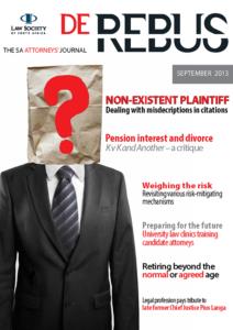 September 2013 De Rebus _Cover