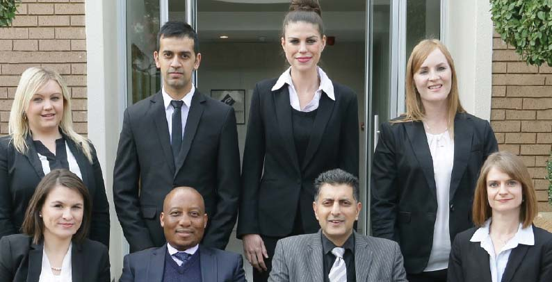 Front from left: Nicolene Komar has been promoted as a senior associate, Thipe Mothle is a director, Ebrahim Jooma is a director, and Adéle van der Merwe has been promoted as a senior associate. Back row, from left: Sian Butterworth has been promoted as an associate, Mohammad Mamod has been promoted as an associate, Michelle Gioia has been promoted as an associate, and Telana van Niekerk has been promoted as an associate.