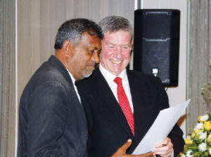 Former Co-chairperson of the Law Society of South Africa (LSSA), Krish Govender, (pictured with former Co-chairperson of the LSSA, Richard Scott (right)) received a certificate of recognition for serving on the LSSA council.