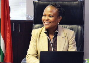 The new Public Protector, Busisiwe Mkhwebane, at her office in Pretoria where she held her first media briefing in Pretoria on 20 October. She said her office will no longer use consultants for investigative work.