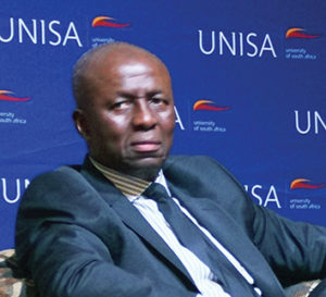 Former Deputy Chief Justice, Dikgang Moseneke, speaking at the 2016 Founders Lecture held at the University of South Africa on 27 October. He called for violence connected to the 'fees must fall' movement to end.