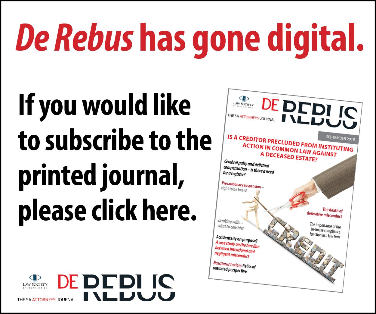 De Rebus - SA Attorneys' Journal
