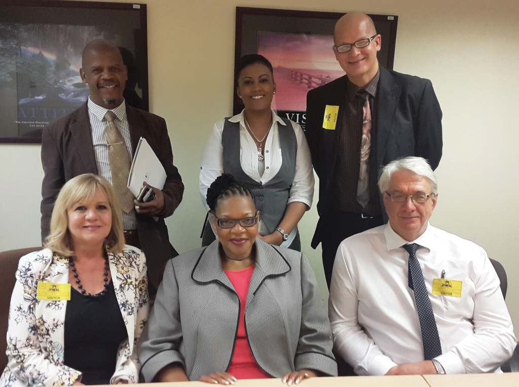 Front from left: LSSA's Professional Affairs Manager, Lizette Burger; Special Director of Public Prosecutions, National Prosecuting Authority, SOCA Unit, advocate Thoko Majokweni; and Chief Executive Officer of the LSSA, Nic Swart. Back from left: Director: Administration, Office of the National Director of Public Prosecutions, George Maphutuma; Senior Manager: Response and Stakeholder Management, Foundation for Professional Development, Seconded to the National Prosecuting Authority, Genevieve Devereux; and Senior Legal Official, Ricardo Wyngaard.