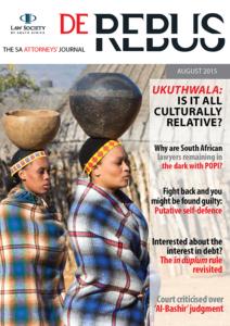 August 2015 De Rebus_Cover